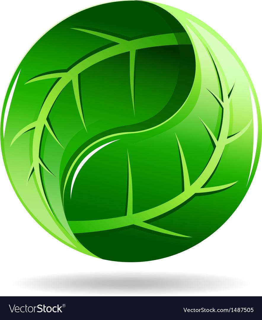 Yin yang symbol in a leaf design vector