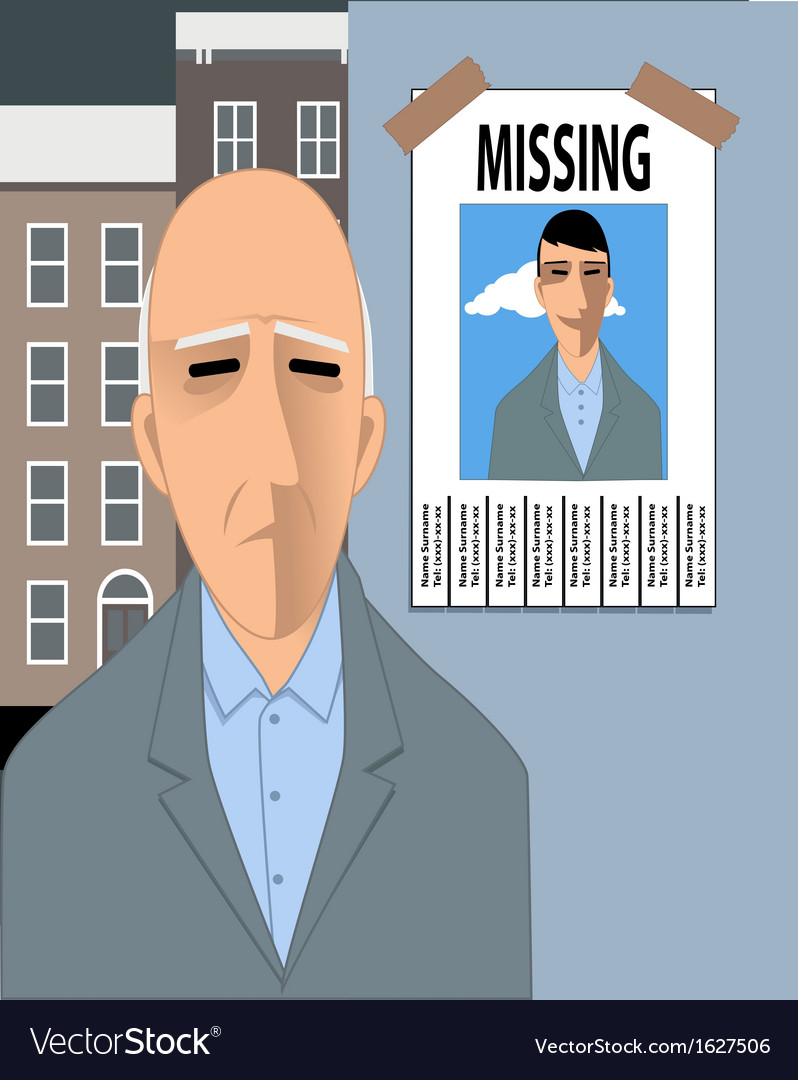 Old man missing his youth vector