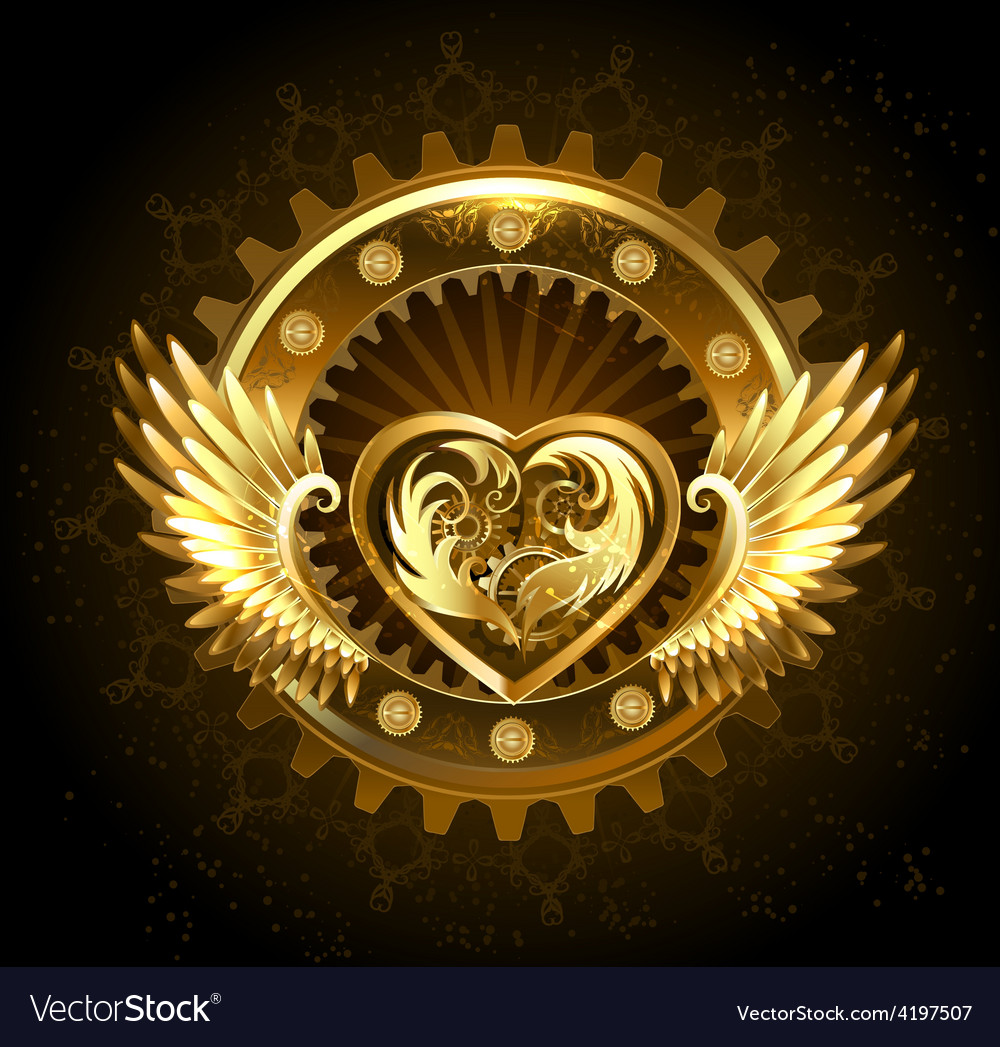 Mechanical heart with wings vector