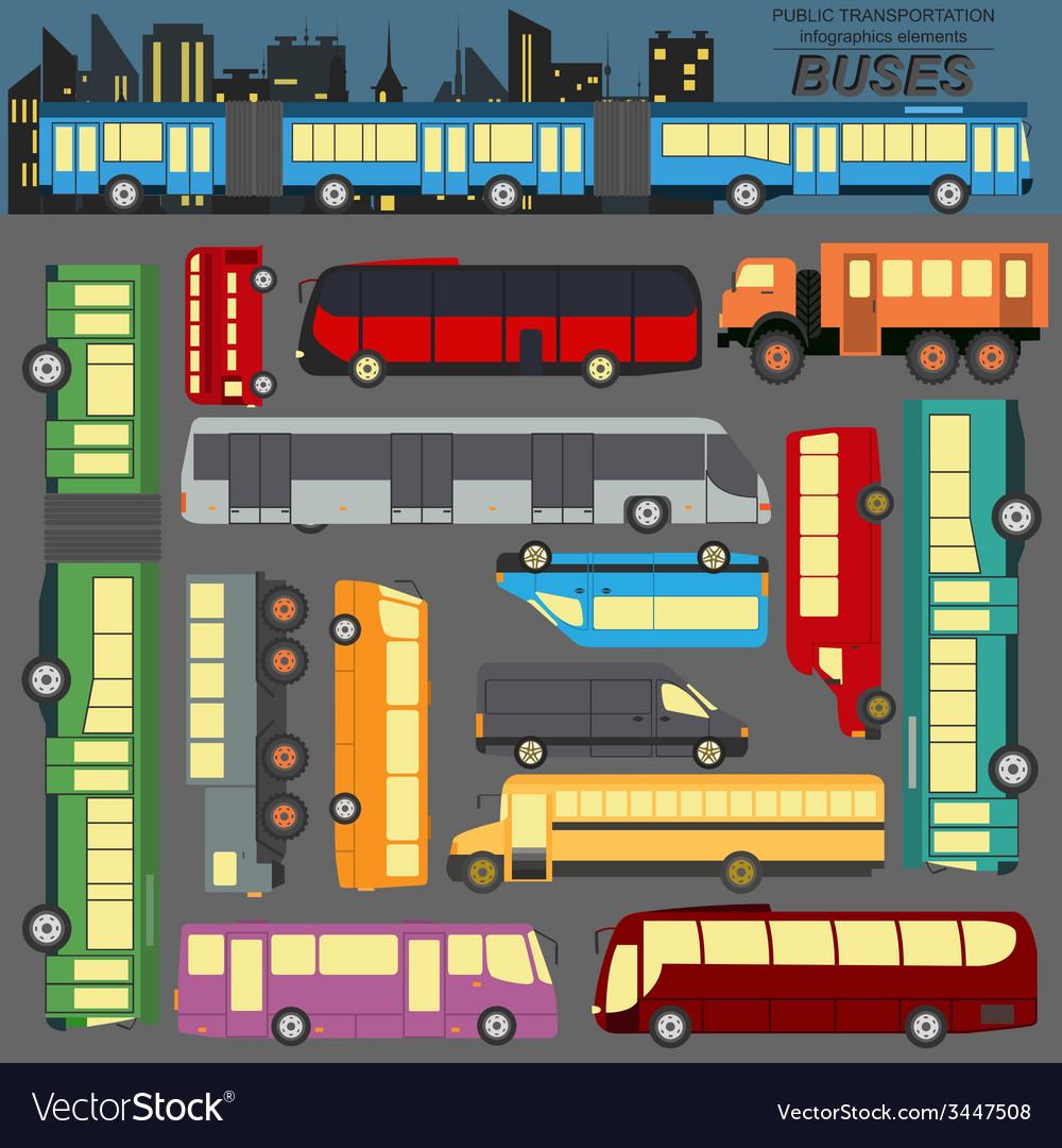 Public transportation buses set elements vector
