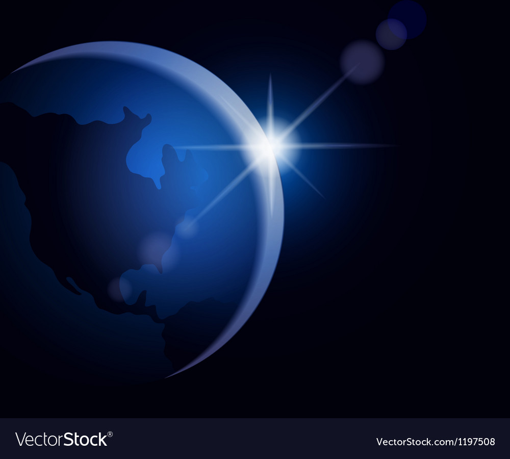 Rising sun over the earth vector