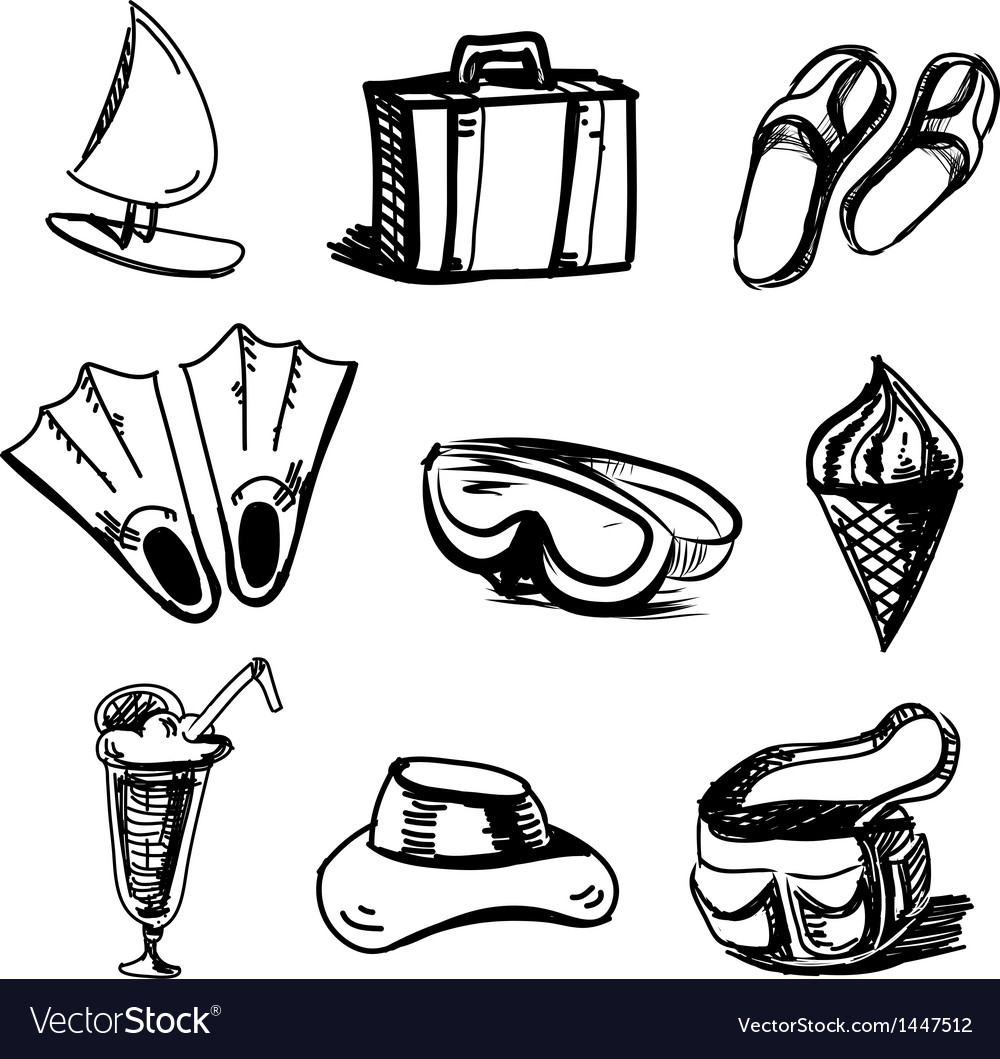 Summer holidays objects collection vector