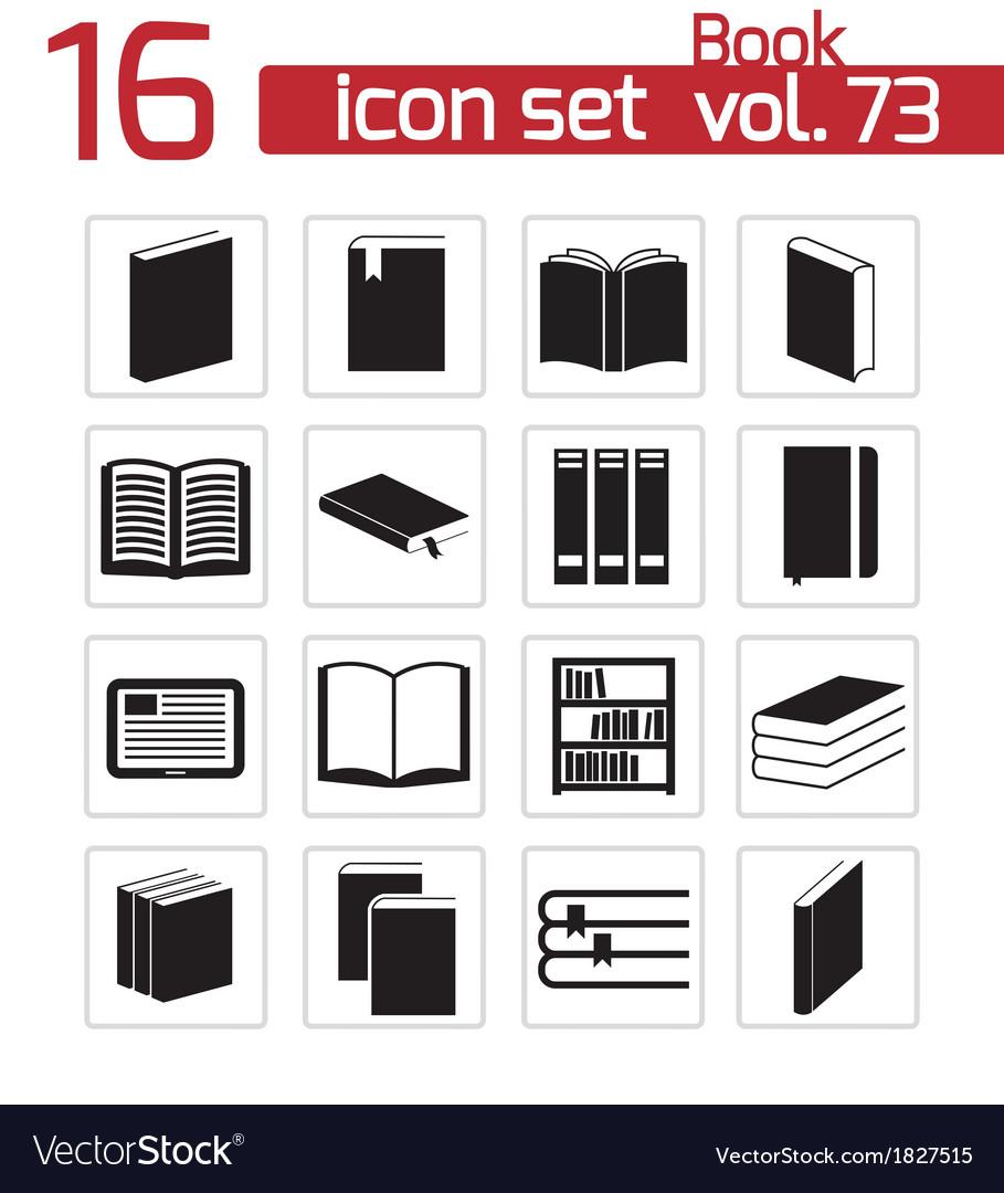 Black book icons set vector