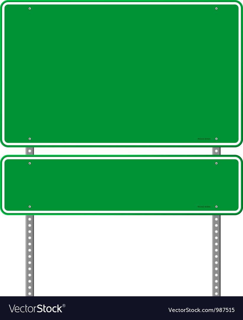 Green blank roadsign vector