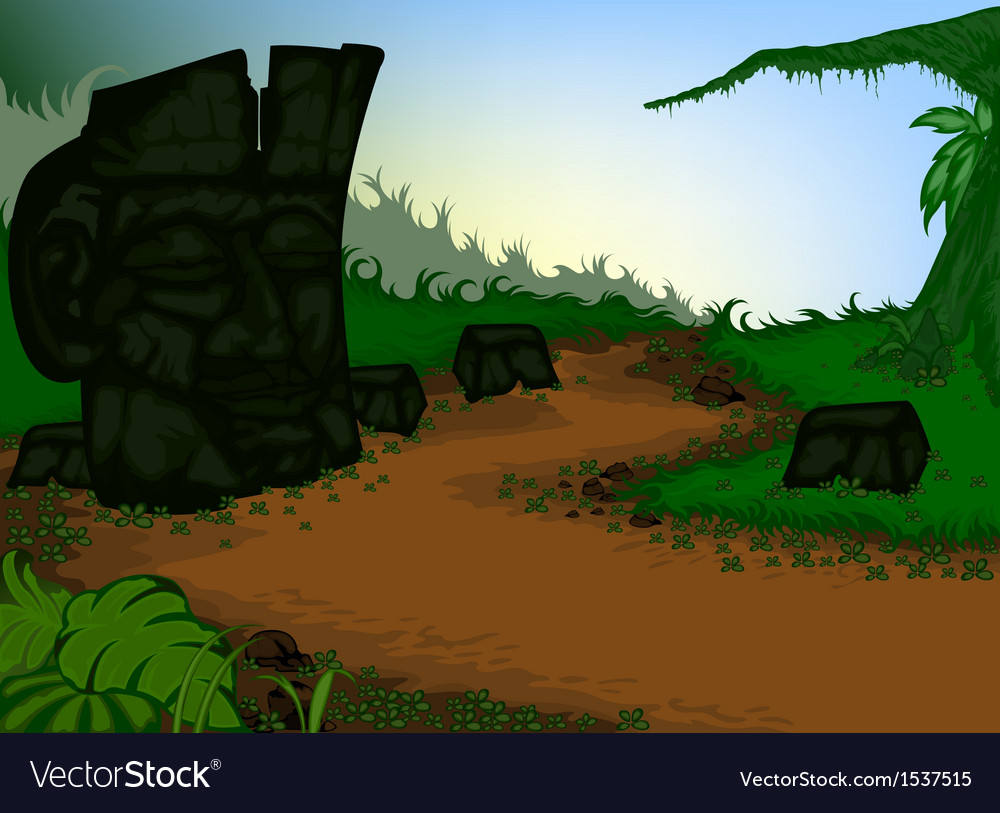 The old stone carvings with nature vector