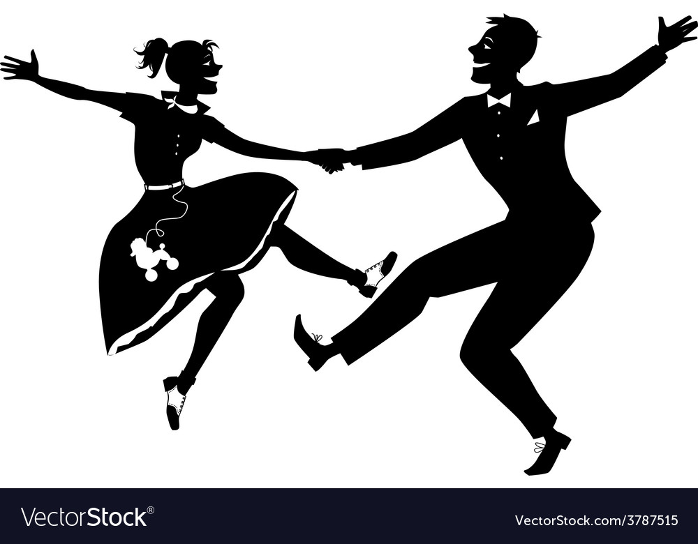 Rock and roll dancing silhouette vector