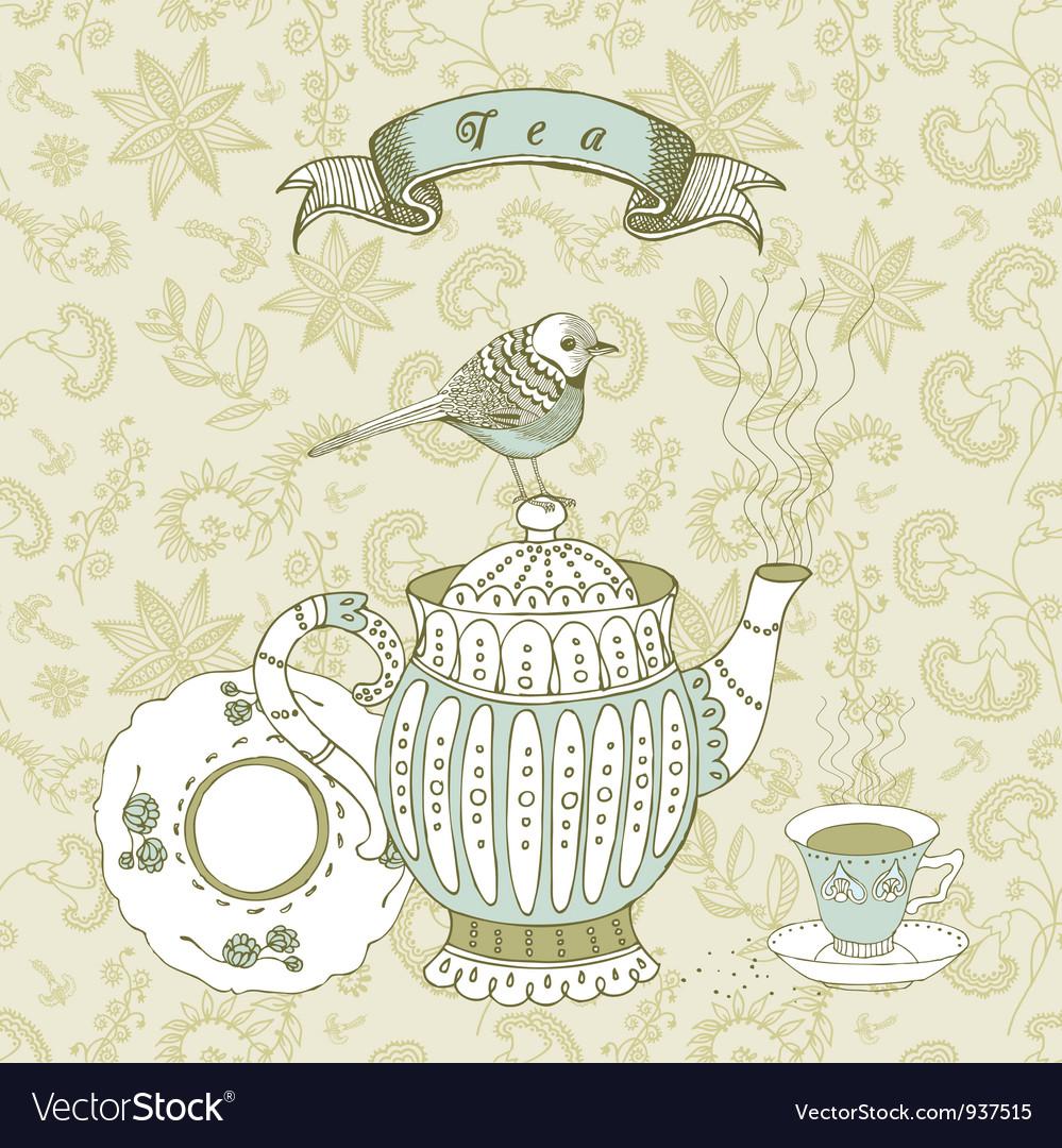 Vintage tea time background vector