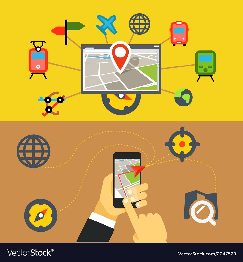 Transportation digital applications vector