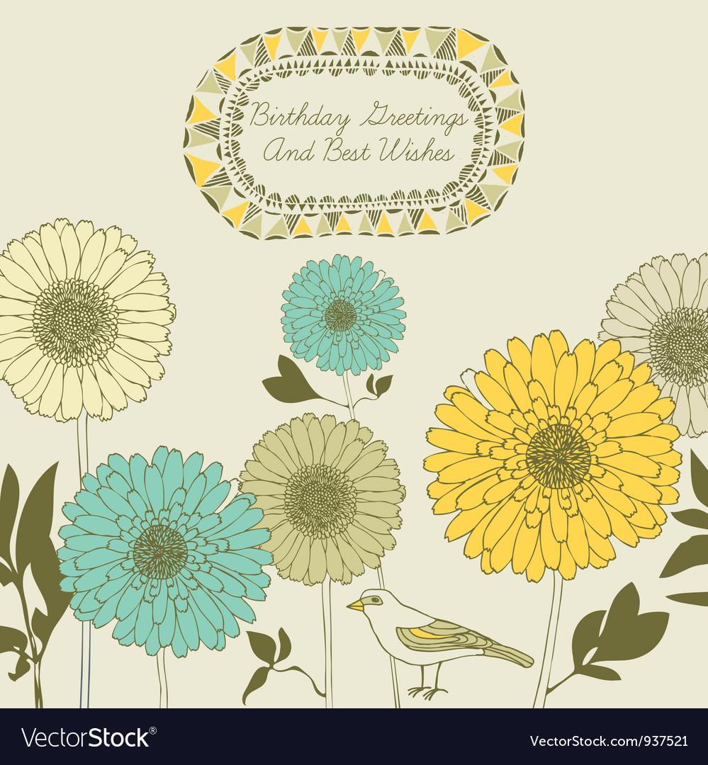 Retro sunflower birthday card vector