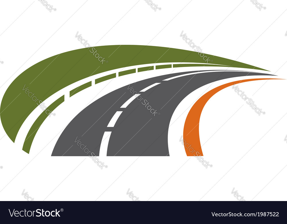 Curving tarred road receding into the distance vector