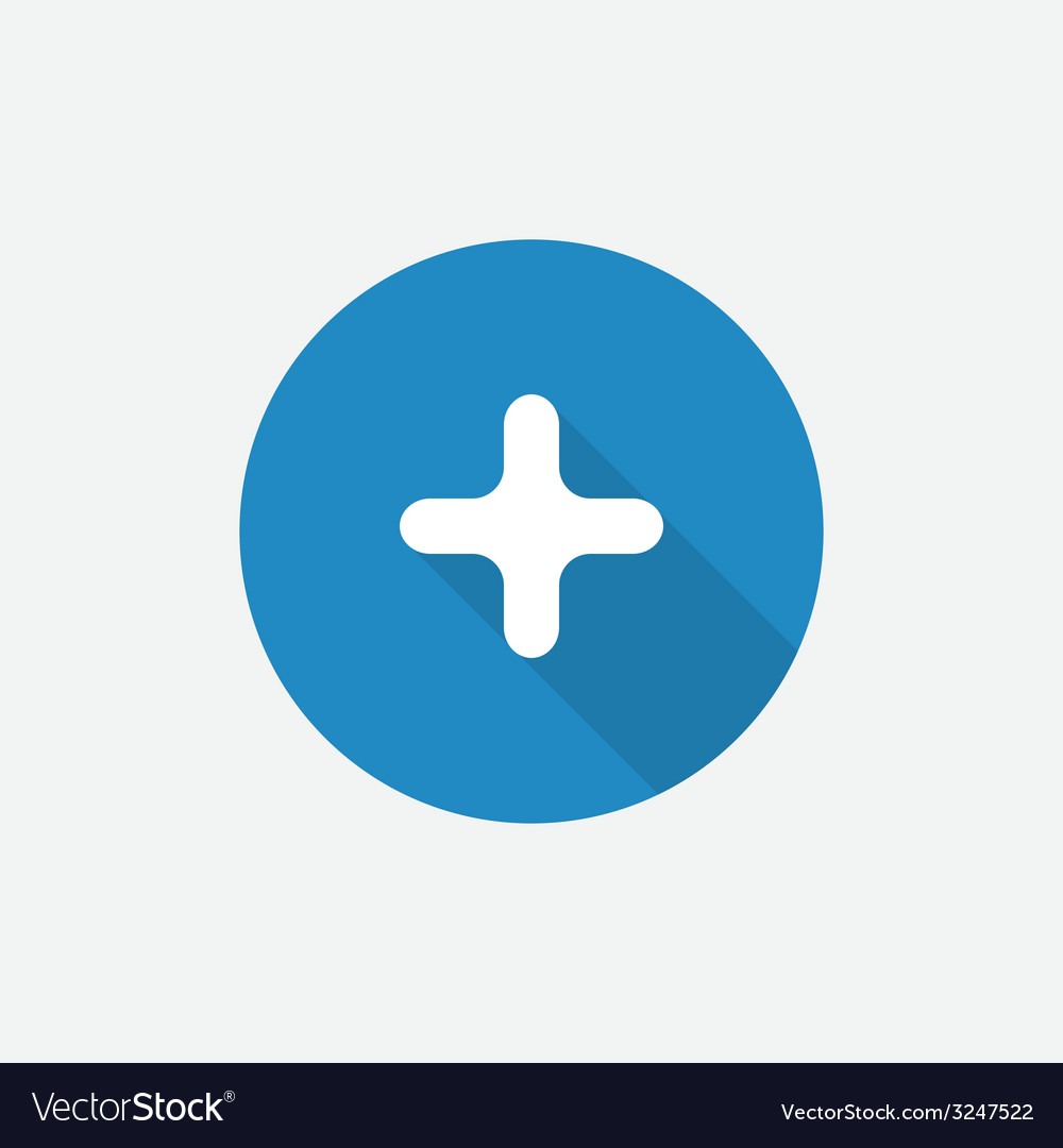 Plus flat blue simple icon with long shadow vector