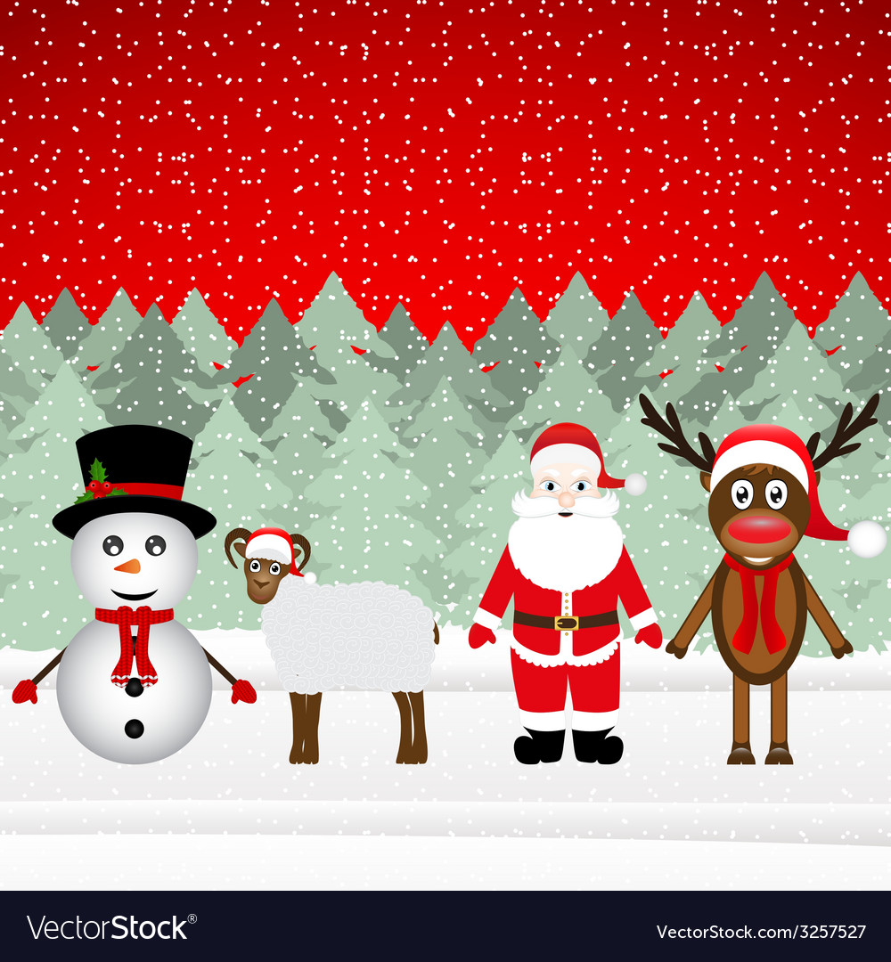 Santa claus reindeer snowman and sheep vector