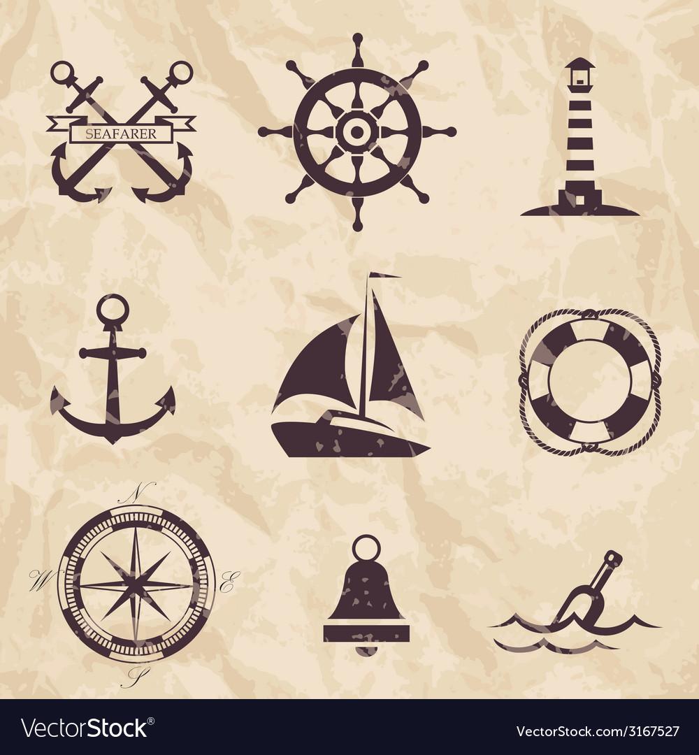 Seafarer set nautical design elements vector