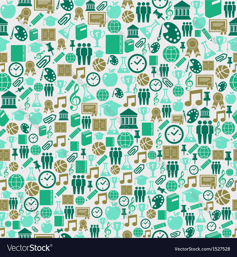 Back to school icons education seamless pattern vector