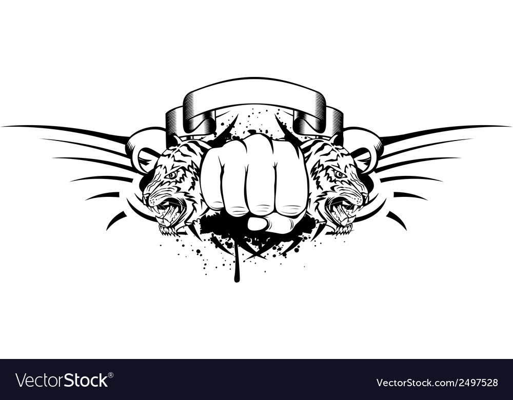 Fist and tigers vector