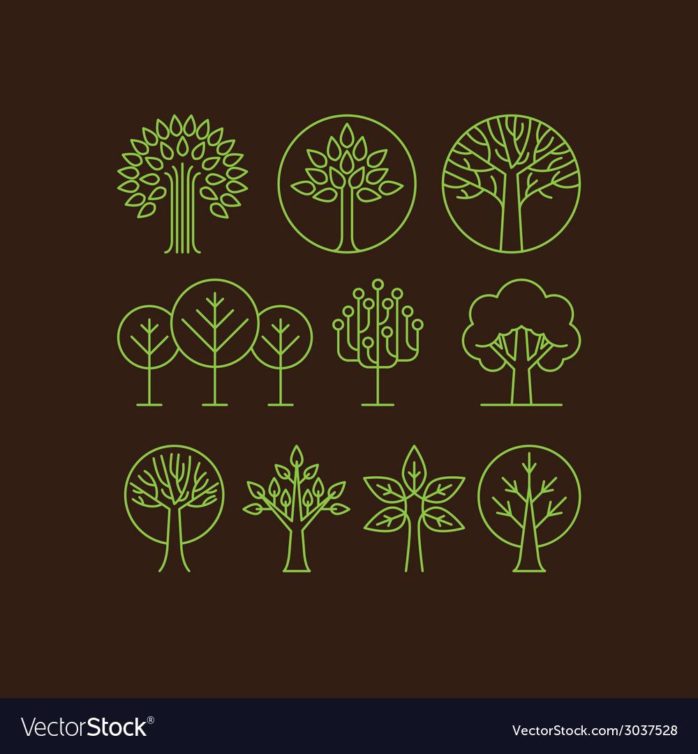 Organic tree icons vector