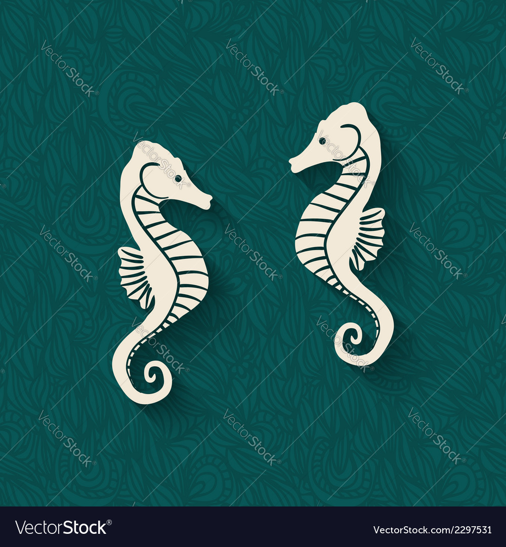 Seahorse marine background vector