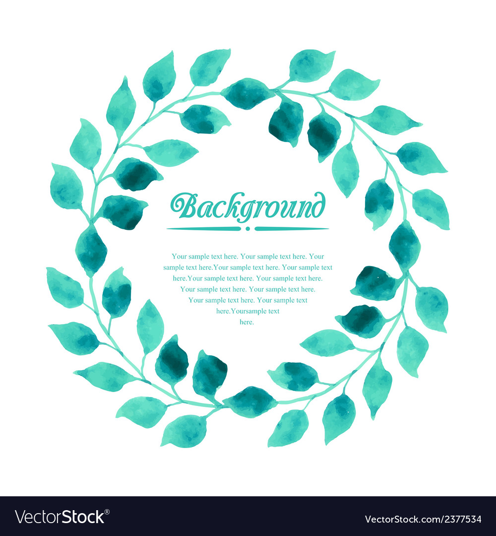 Watercolor wreath of branch with leaves vector