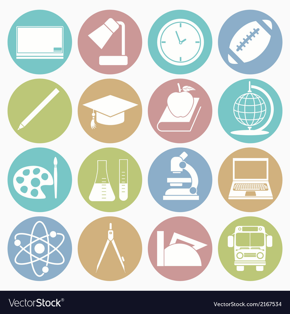 White icons education vector