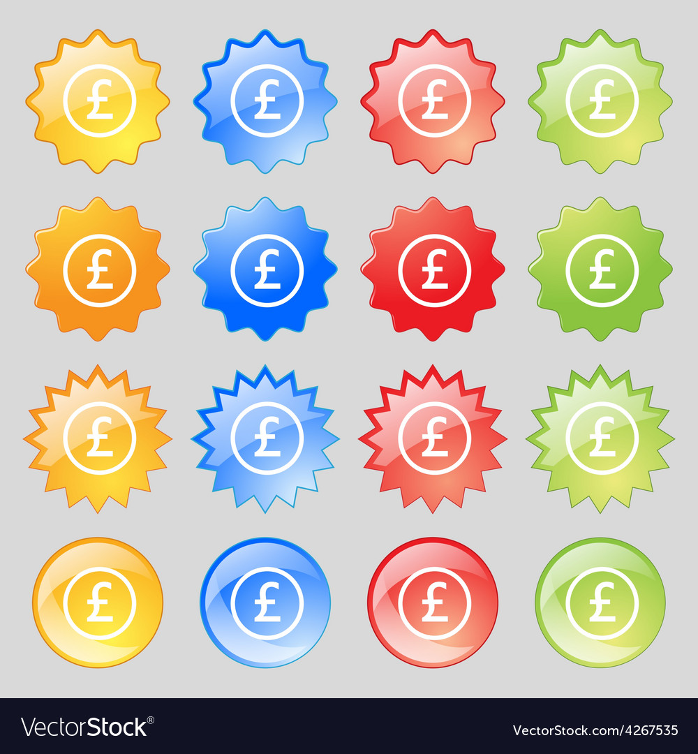 Pound sterling icon sign big set of 16 colorful vector
