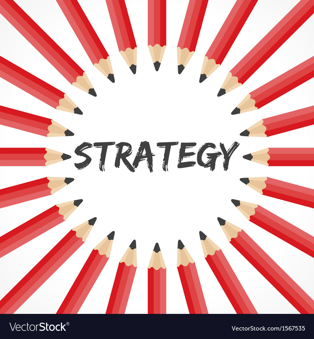 Strategy word with pencil background vector