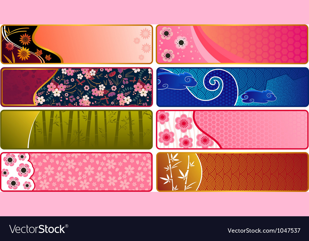 Japanese banners vector