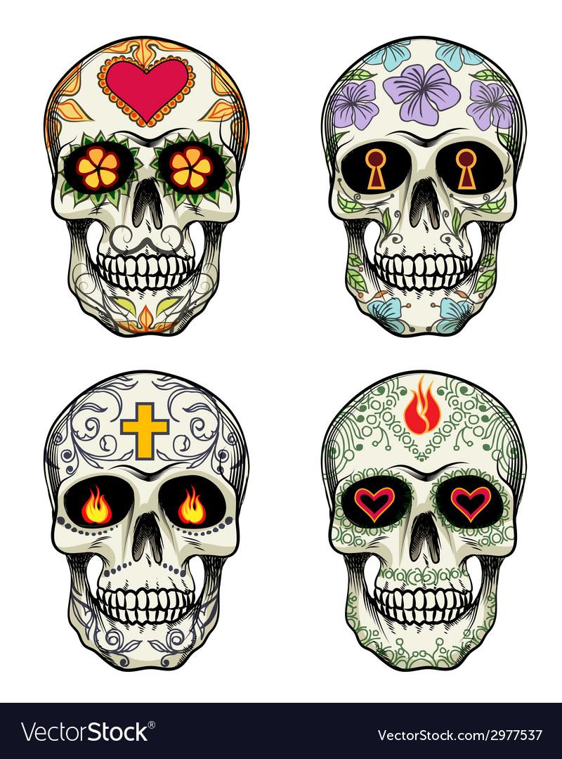 Skulls with flowers vector