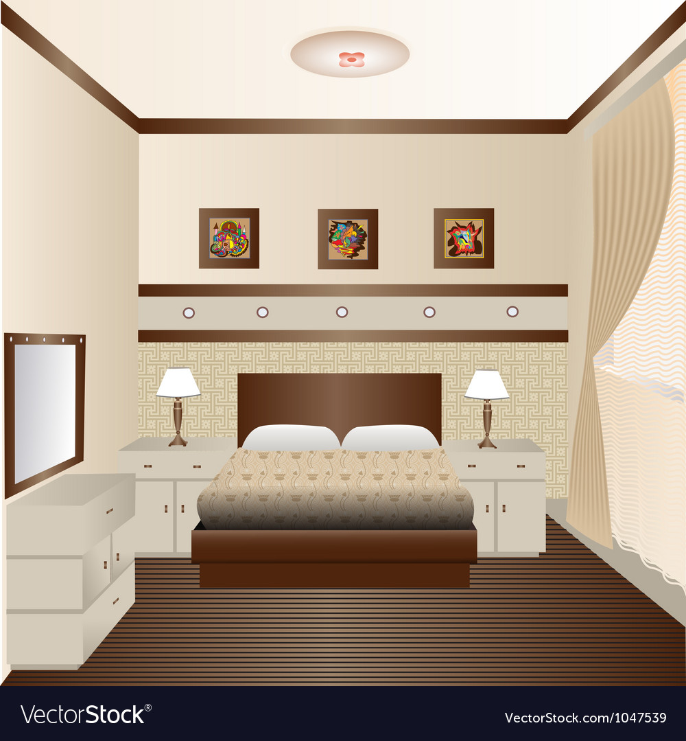Interior room with a window and a mirror vector