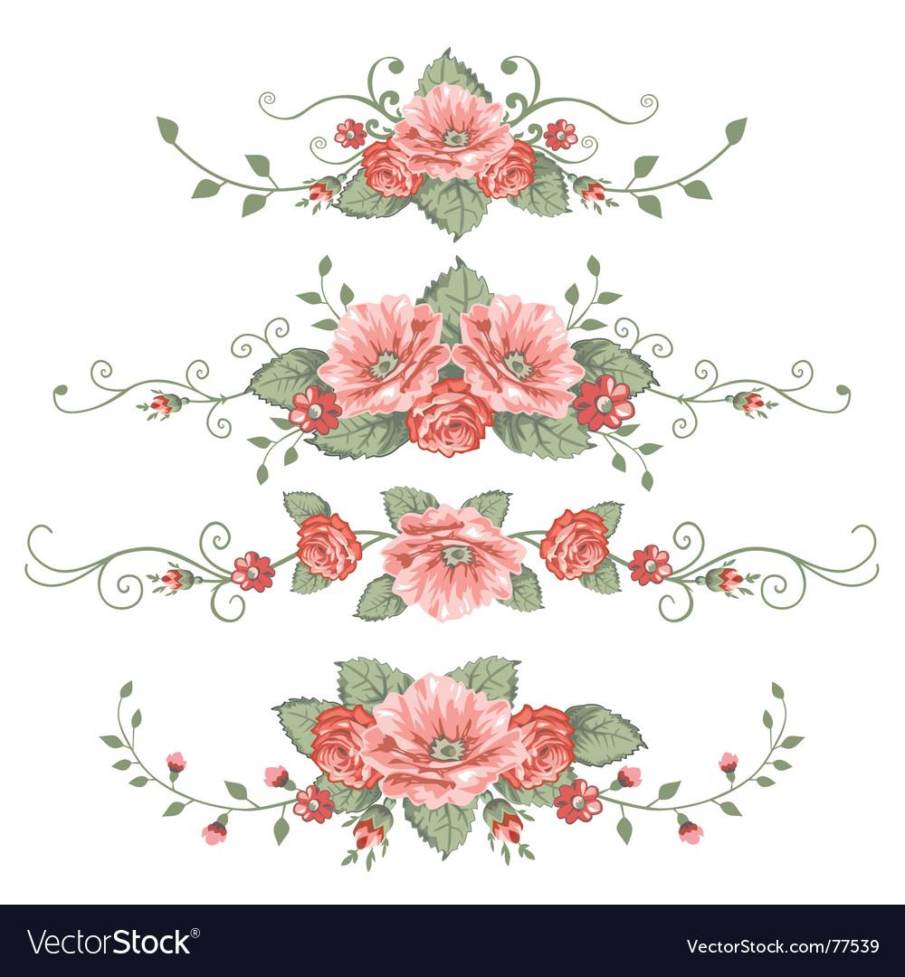 Set of rose vector