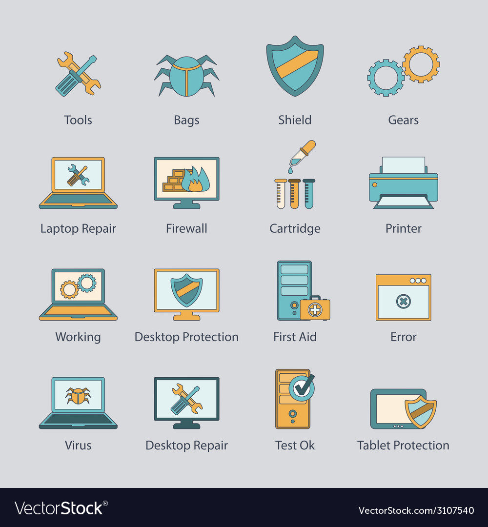 Computer repair flat line icons set vector