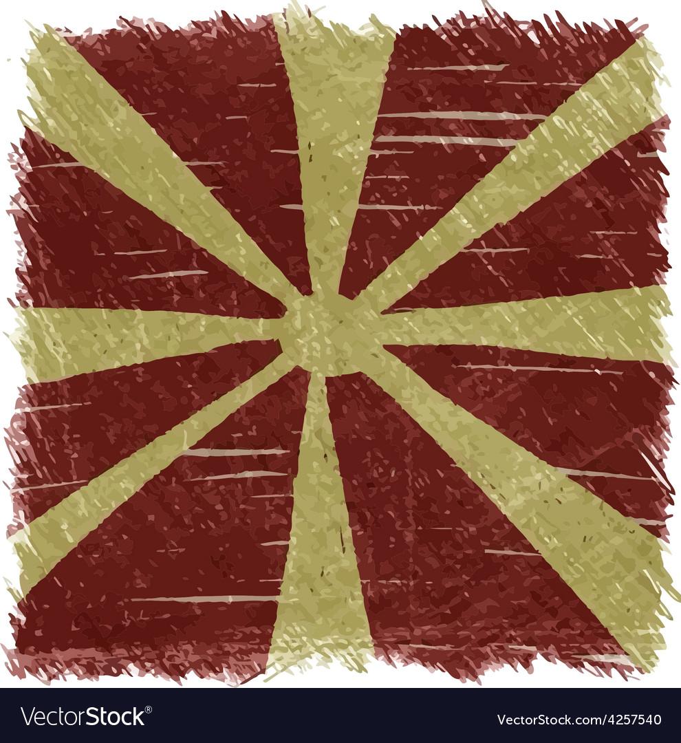 Flag of macedonia handmade square shape vector
