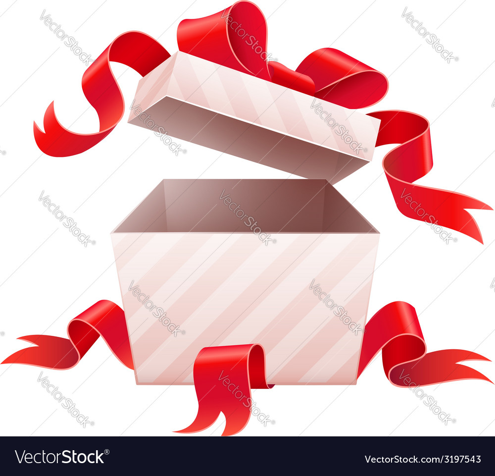 Open box with ribbon for vector