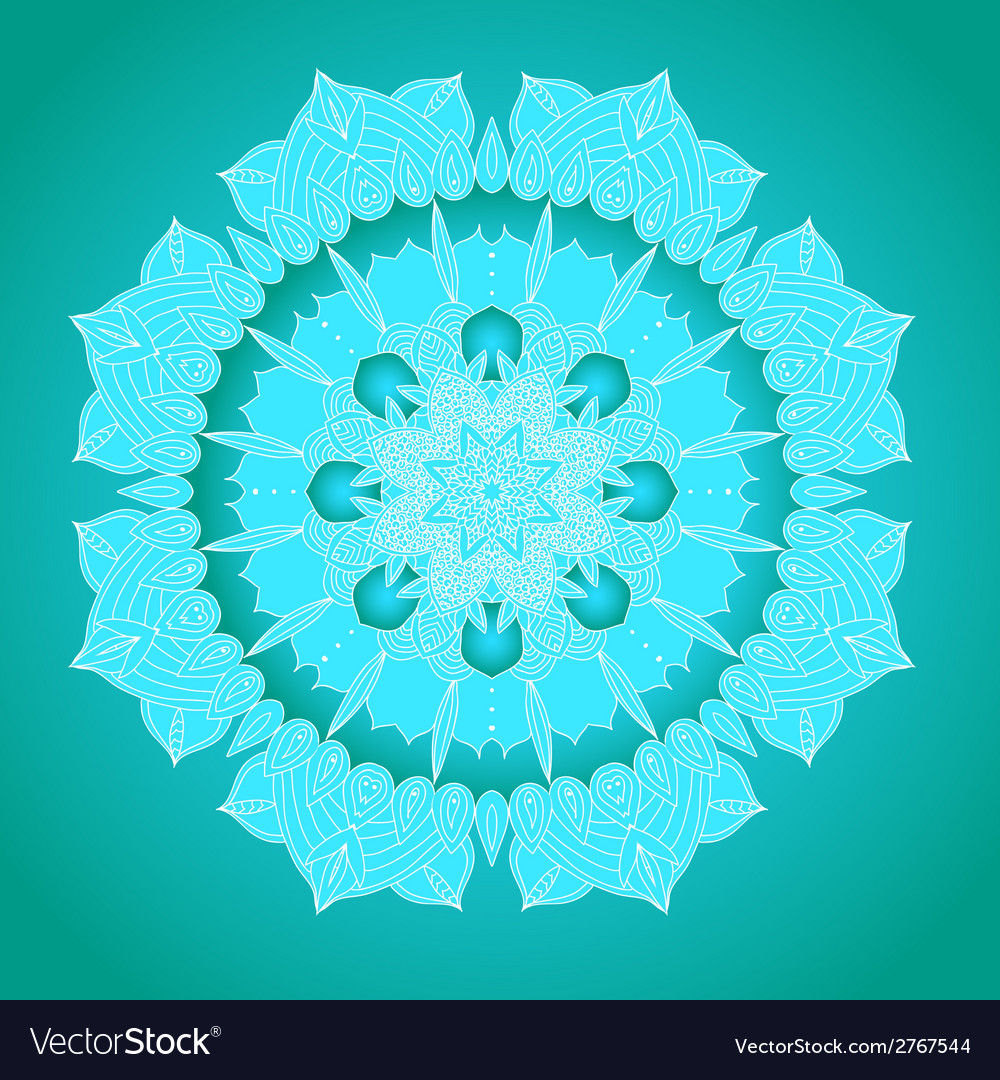 Delicate lace round pattern vector
