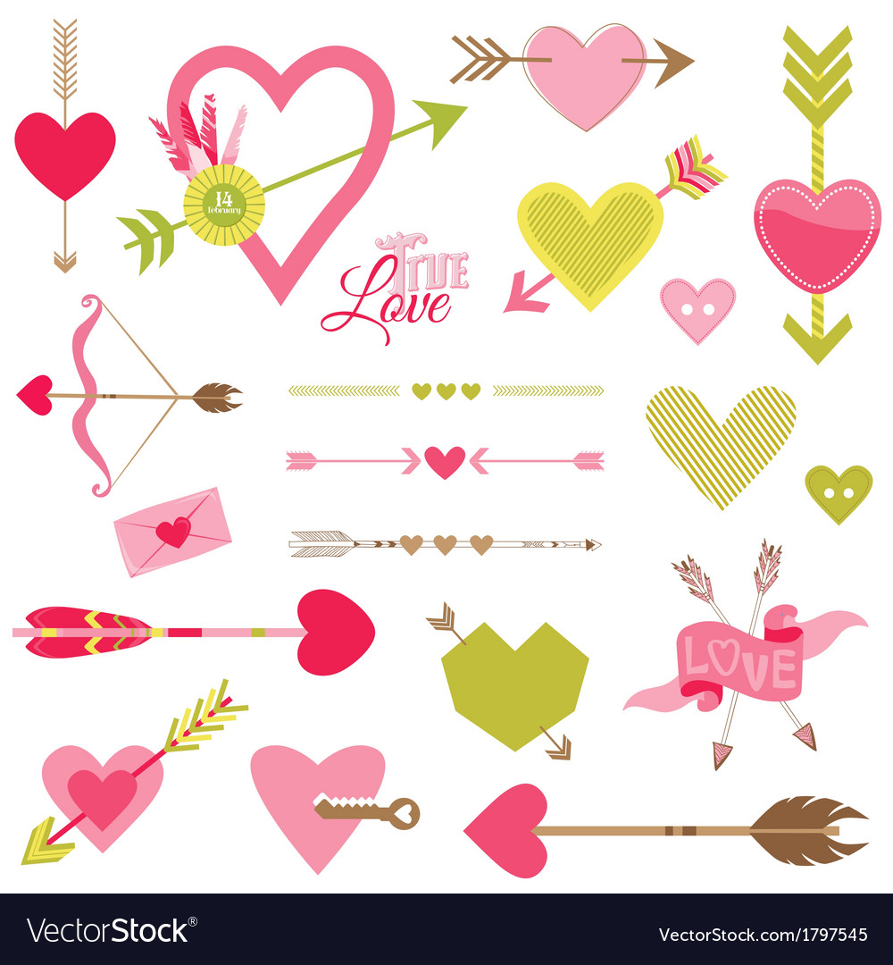 Love heart and arrows set - for valentines day vector