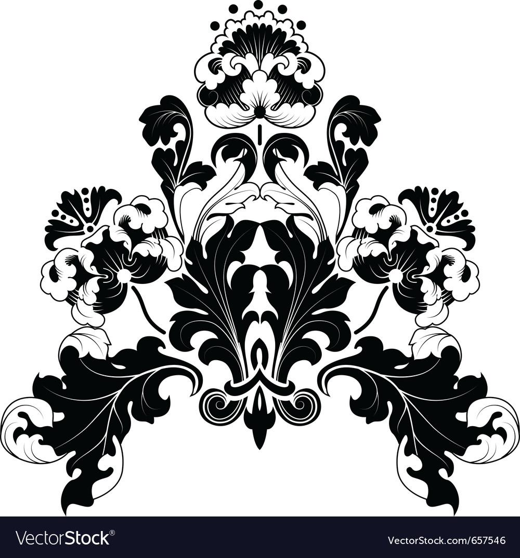 Floral antique designs vector