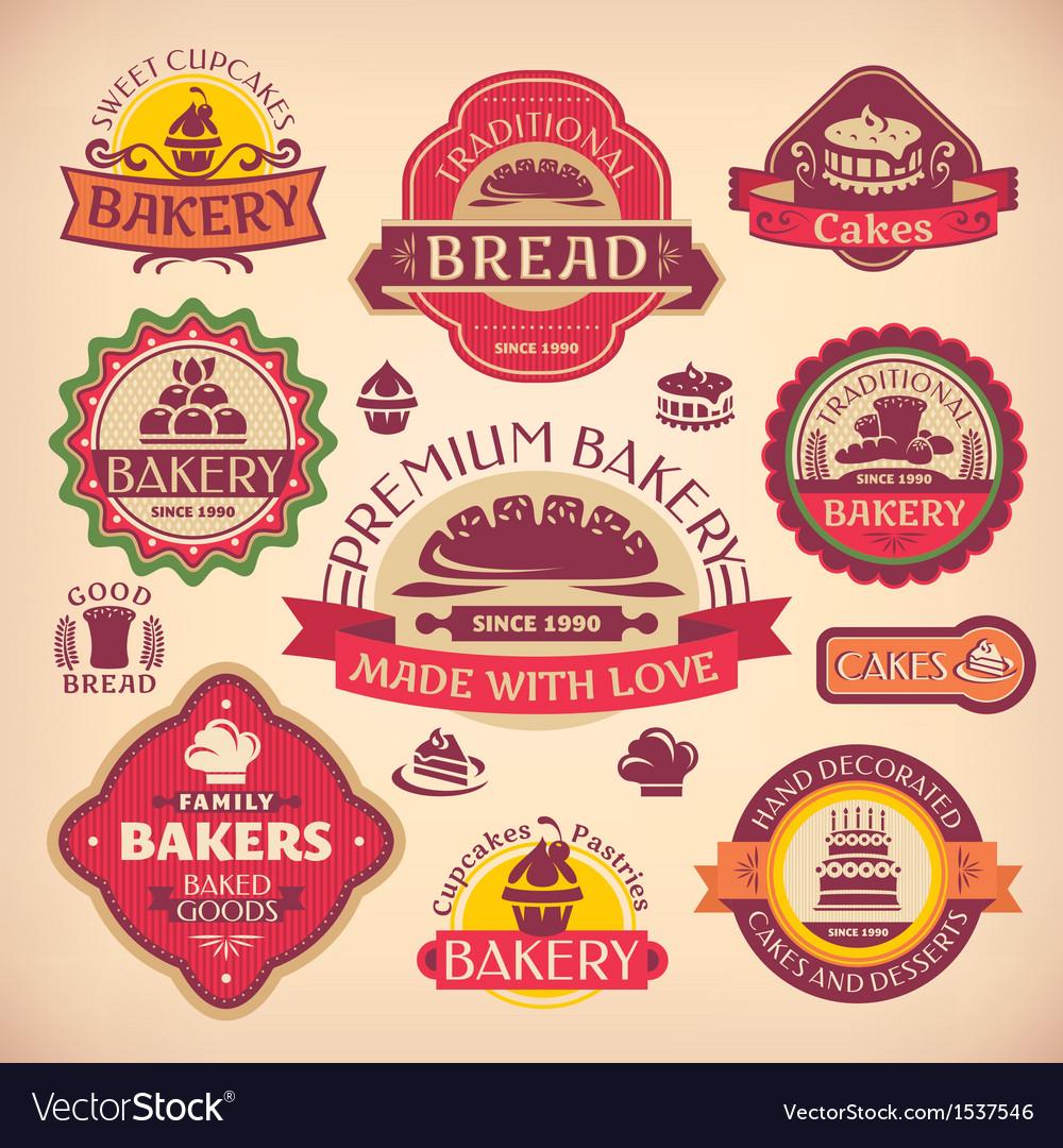 Set of vintage various bakery labels vector
