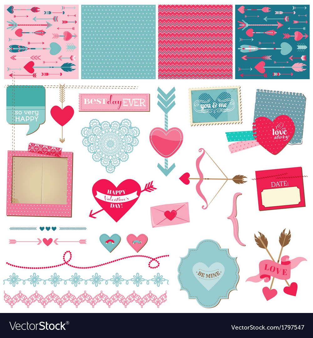 Love heart and valentines vector