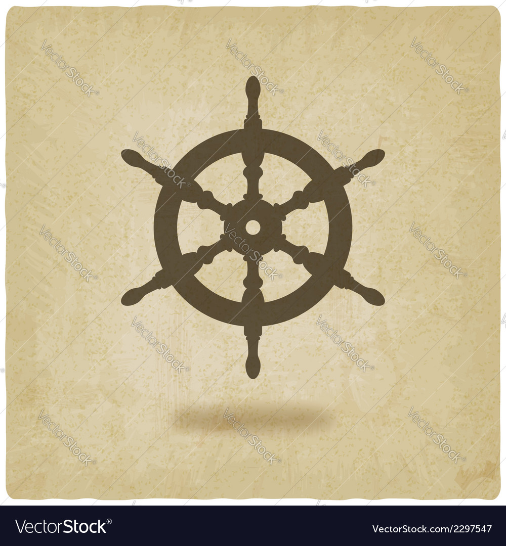 Steering wheel old background vector
