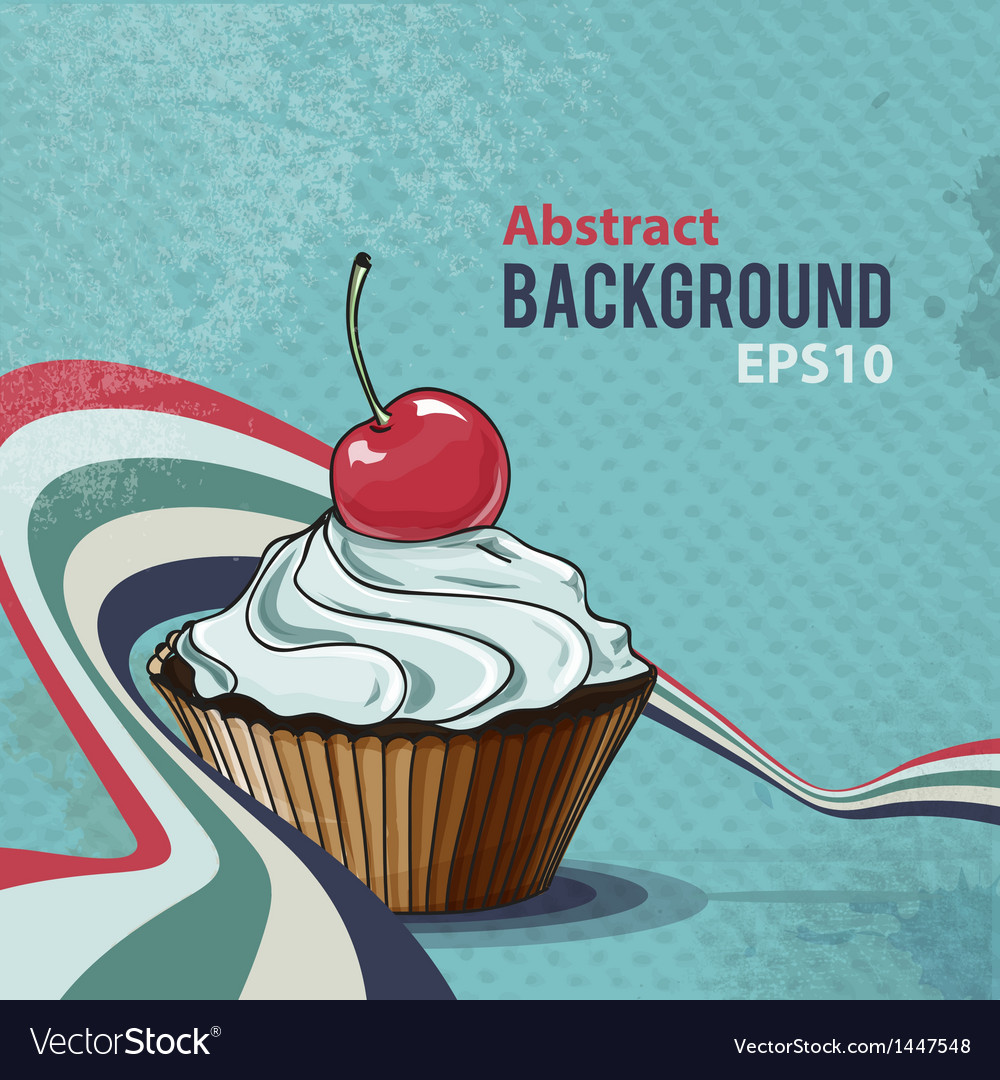 Retro background with tasty cupcake vector
