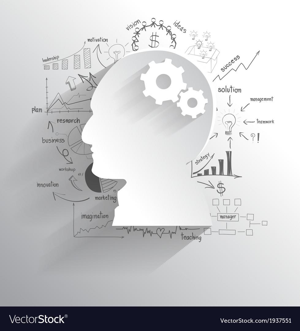 Human head with set of gears as a brain idea vector