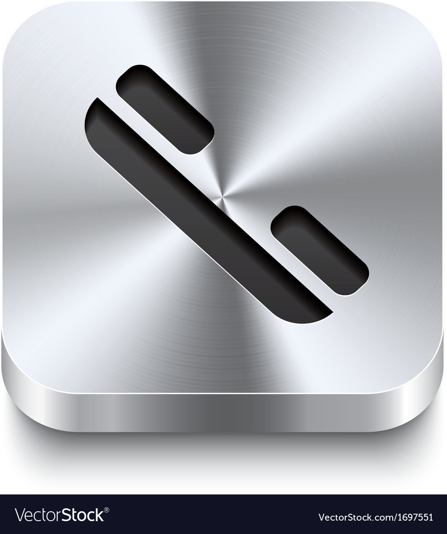 Square metal button - telephone receiver icon vector