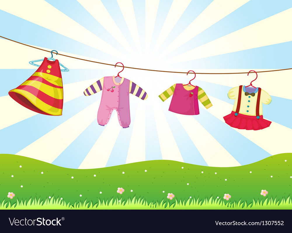 Hanging baby clothes in the hill vector