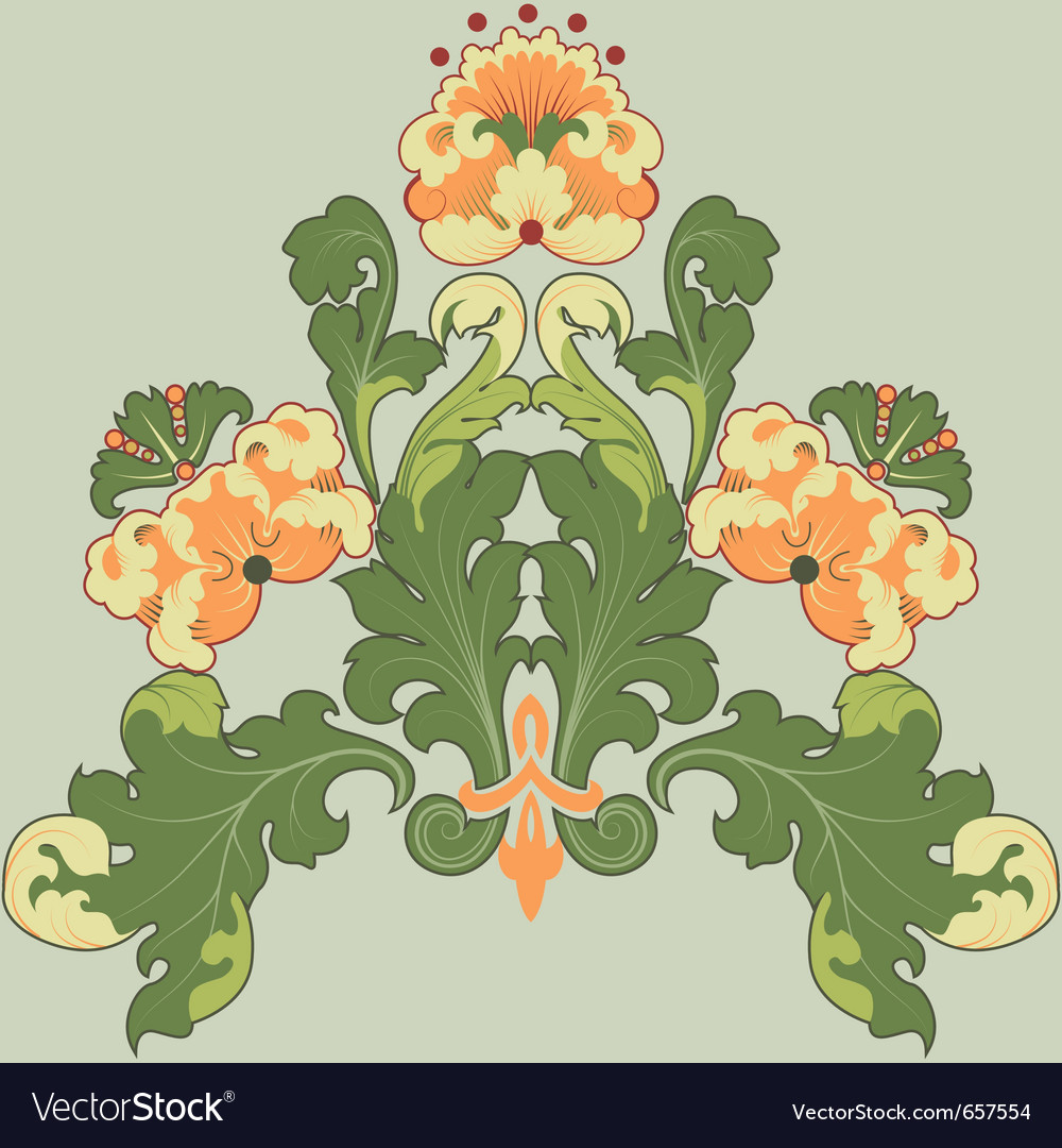 Floral antique vector