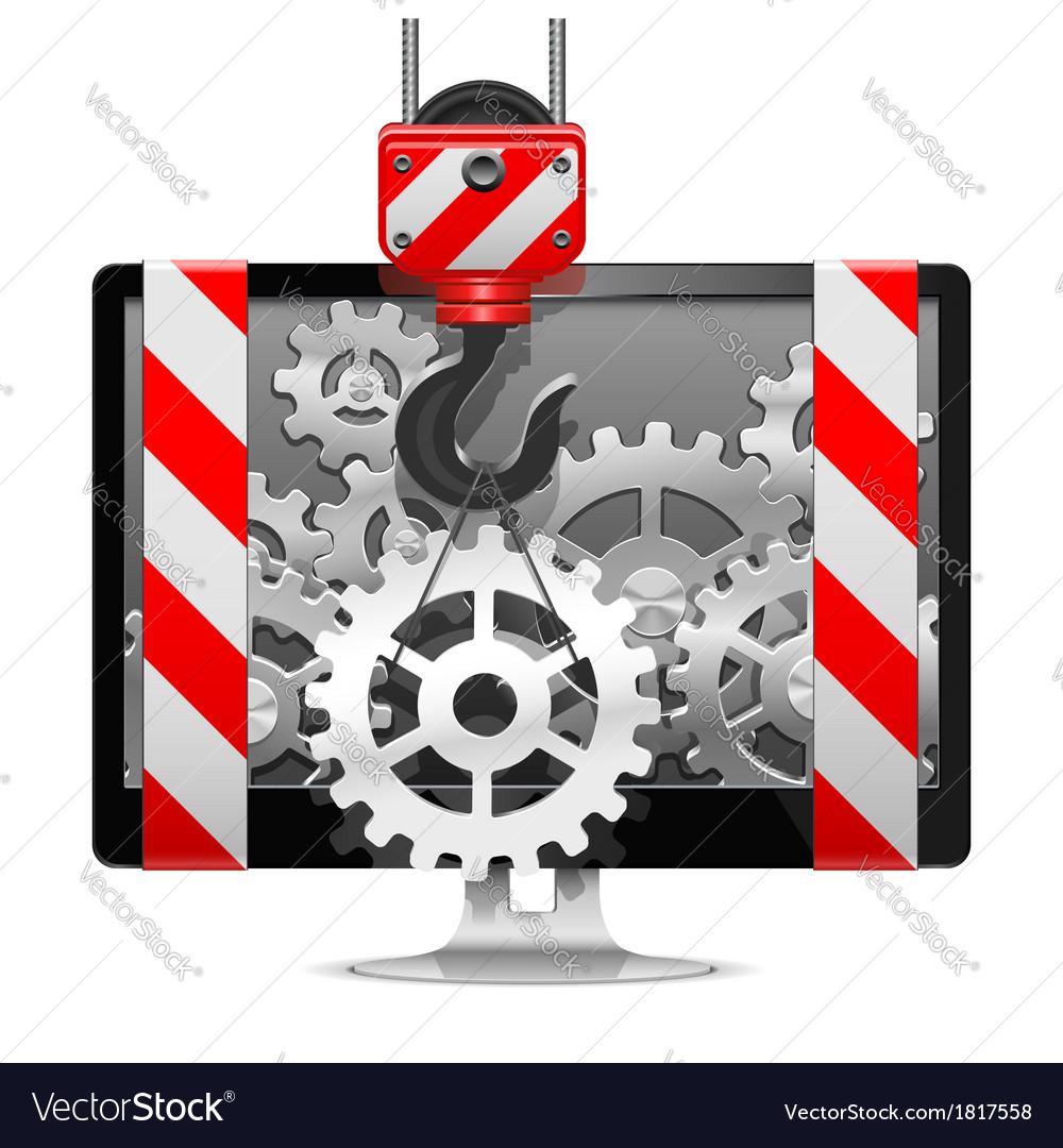 Computer repair with crane vector