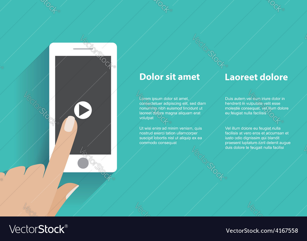Hand touching smartphone with play button on the vector