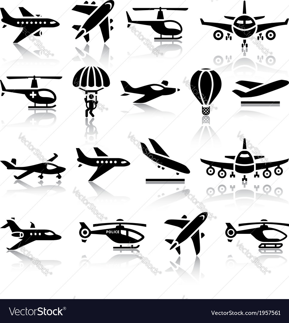 Set of aircrafts black icons vector