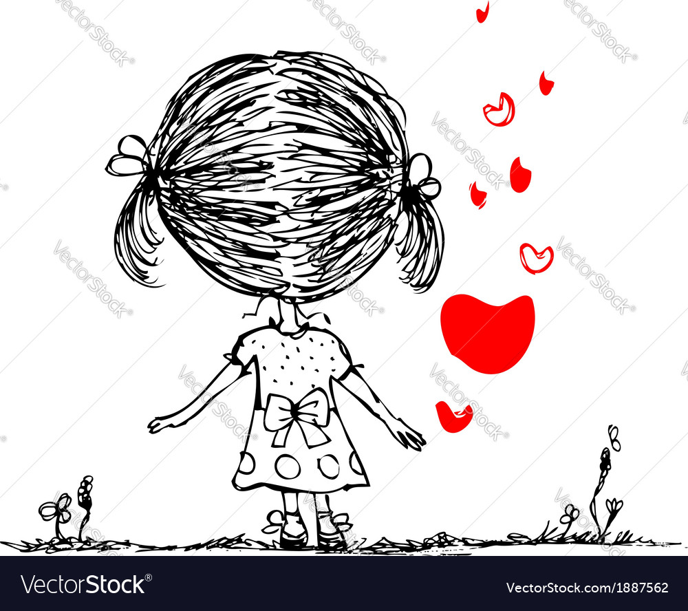 Girl with red heart valentine card sketch for your vector