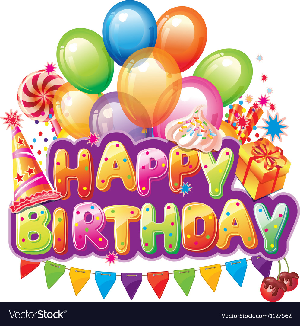 Happy birthday text with party elements vector