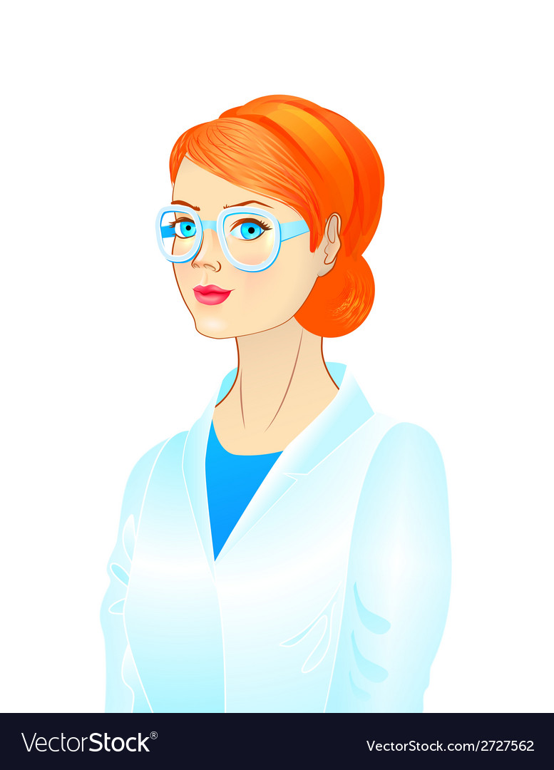 Portrait of a female scientist vector