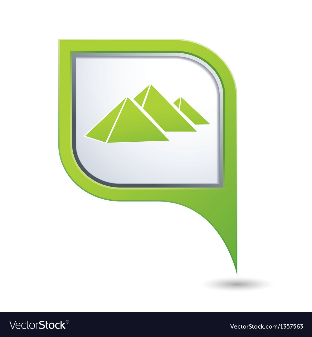 Map pointer with pyramids icon vector